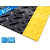 etm Anti-Ermüdungsmatte Heavy-Duty Diamond PVC, Vinyl Schwarz, Gelb 900 x 1500 mm