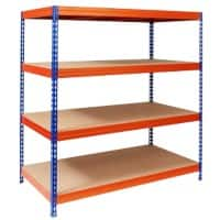 Office Marshal Weitspannregal Blau, Orange 4 Fächer 2000 x 1500 x 600 mm