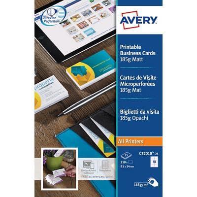 Avery Zweckform Visitenkarten C32010 25 Din A4 185 G M Weiß 25 Blatt à 10 Etiketten