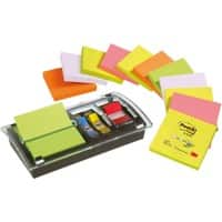 Post-it Haftnotizenspender Z-Notes  Schwarz, Transparent 76 x 76 mm 70 g/m² 12 Pack à 100 Blatt