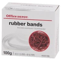 Office Depot Gummibänder 80 x 1,5 mm Ø 50 mm Rot 100g
