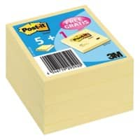 Post-it Notes 654Y6 Gelb Blanko 76 x 76 mm 70 g/m² 6 Stück à 100 Blatt