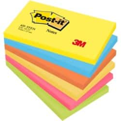 Post-it Haftnotizen Active Collection Färbig sortiert Blanko 76 x 127 mm 70 g/m² 6 Stück à 100 Blatt