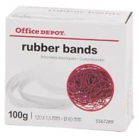 Office Depot Gummibänder 120 x 1,5 mm Ø 80 mm Rot 100 g