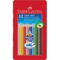 Faber-Castell Farbstift Colour Grip 2001/112413, sortiert, Mine 3 mm, 12er Metall-Etui