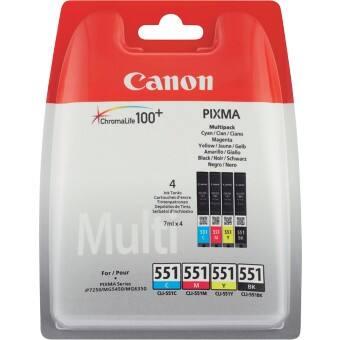 Canon CLI-551 Schwarz,Cyan, Magenta, Gelb 4 Stück