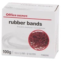Office Depot Gummibänder Rot 150 x 1,5 mm 100 g