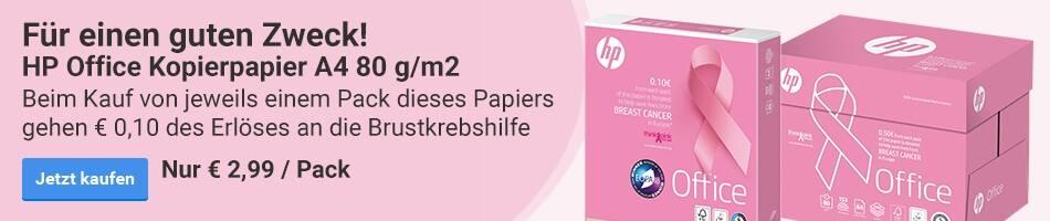 Für einen guten Zweck! HP Office Kopierpapier A4 80 g/m2, beim Kauf von jeweils einem Pack dieses Papiers gehen € 0,10 des Erlöses an die Brustkrebshilfe. Nur € 2,99 / Pack