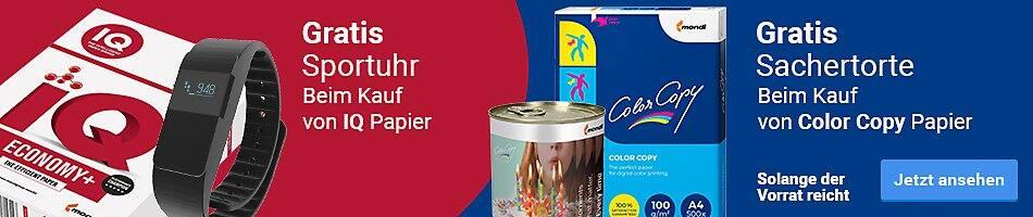 Gratis Sportuhr beim Kauf von IQ Papier - Gratis Sachertorte beim Kauf von Color Copy Papier