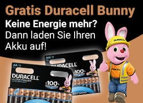 Gratis Duracell Bunny! Keine Energie mehr? Dann laden Sie Ihren Akku auf!